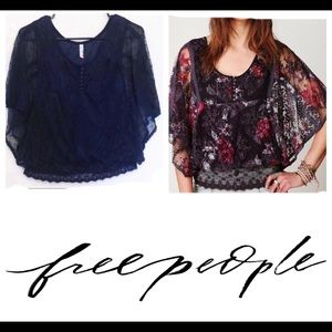 Free People Chrissy Lace Navy Blue Top | Small
